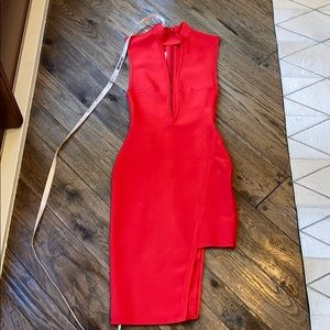 HOUSE OF CB Red fitted bandage dress